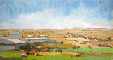 Granja avicola. Oil on wood, 60 x 30 cm, 2011