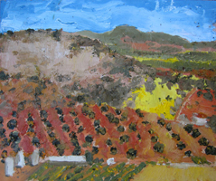 Campos de Castilla IV. Oil on wood, 60 x 30 cm, 2011